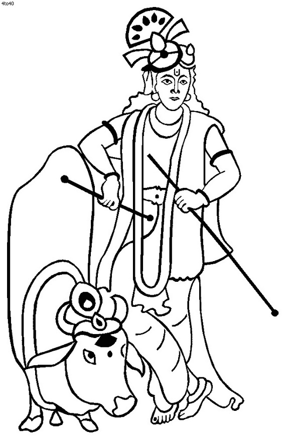 Draw clipart coloring contest. Janmashtami festival pages family