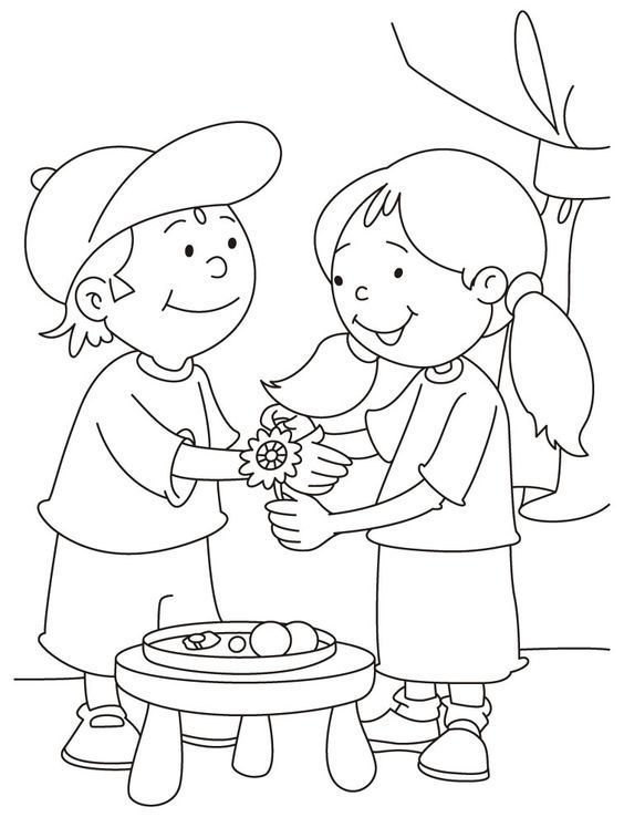Draw clipart coloring contest. Raksha bandhan drawing