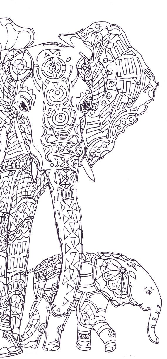 Draw clipart colouring page. Best adult elephants