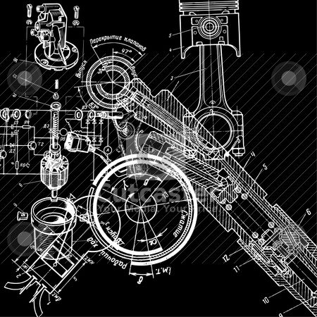 Draw clipart mechanical drafting. Technical drawing vector illustration