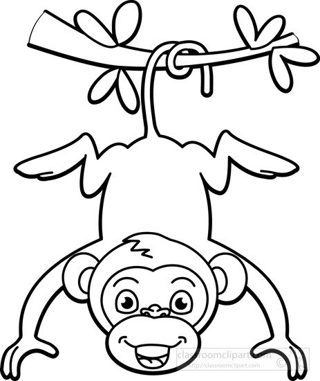Draw clipart monkey. Outline drawing at getdrawings
