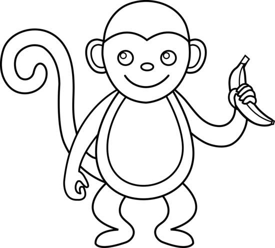 Draw clipart monkey. Cute black and white