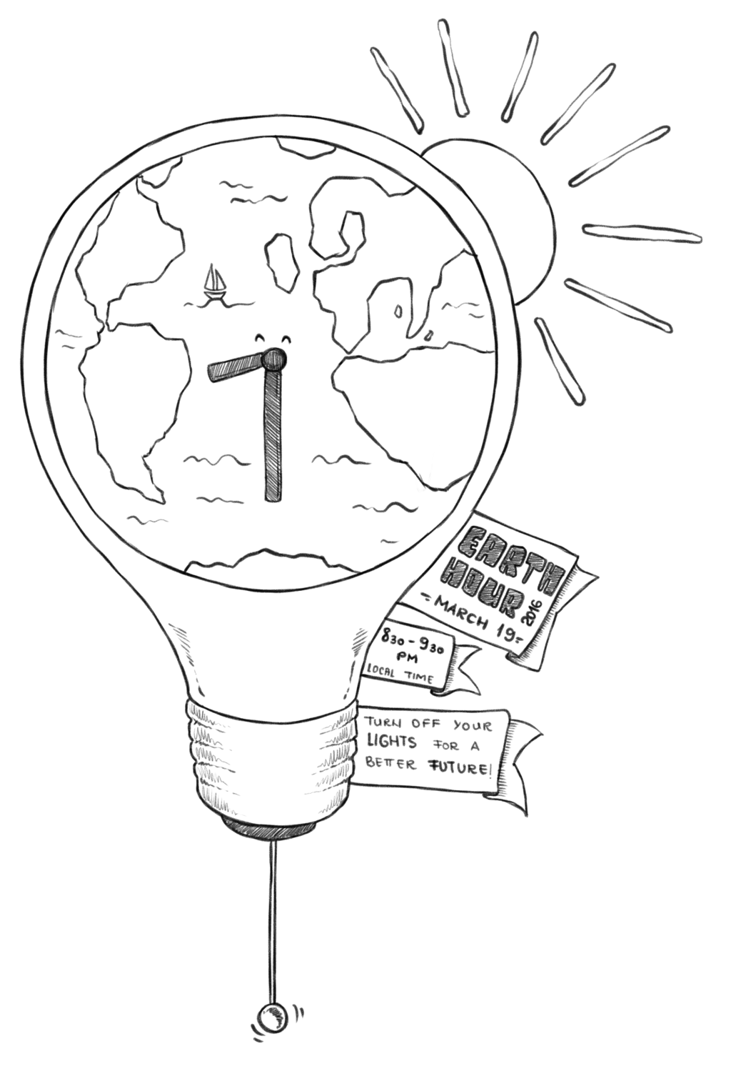Earth hour energy conservation. Drawing 2016 svg library stock