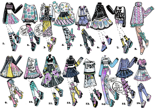 Drawing 2016 fashion design. Closed last outfits of