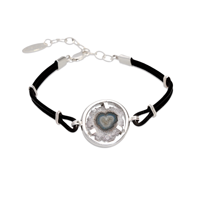 Drawing accessory bracelet. Heart amethyst stalactite leather