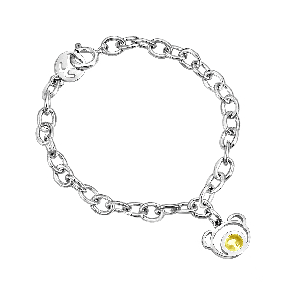 Drawing accessory bracelet. Silver bear citrine beawelry