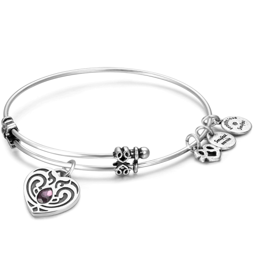 Drawing accessory bracelet. February birthstone charm bangle