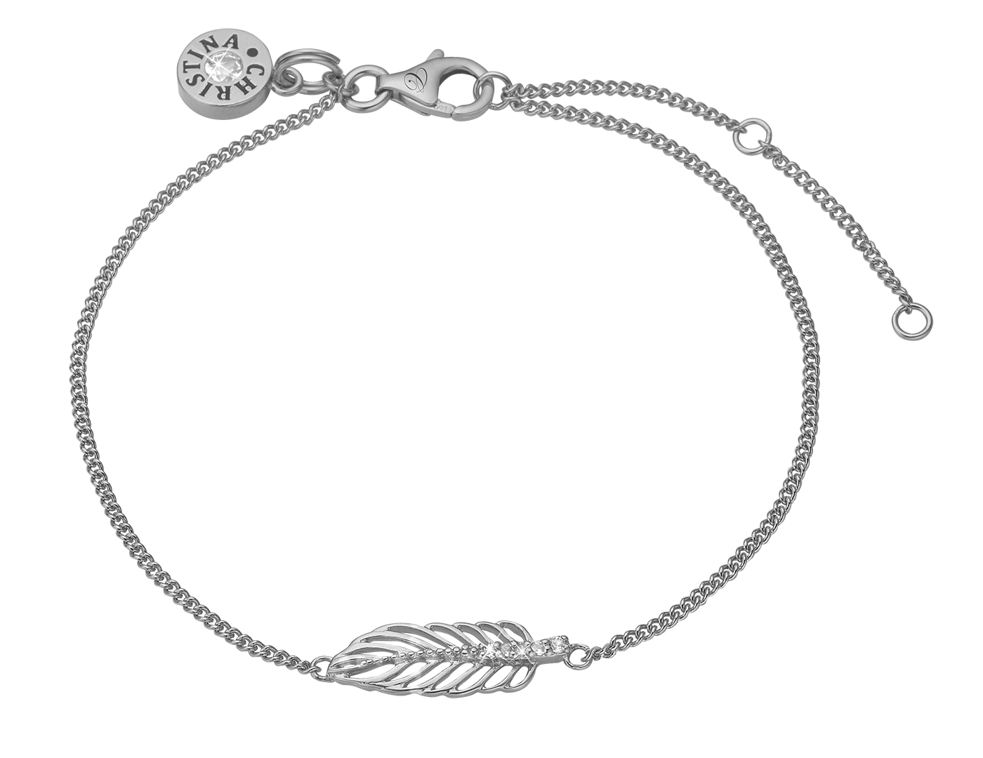 Drawing accessory bracelet. Christina feather silver with