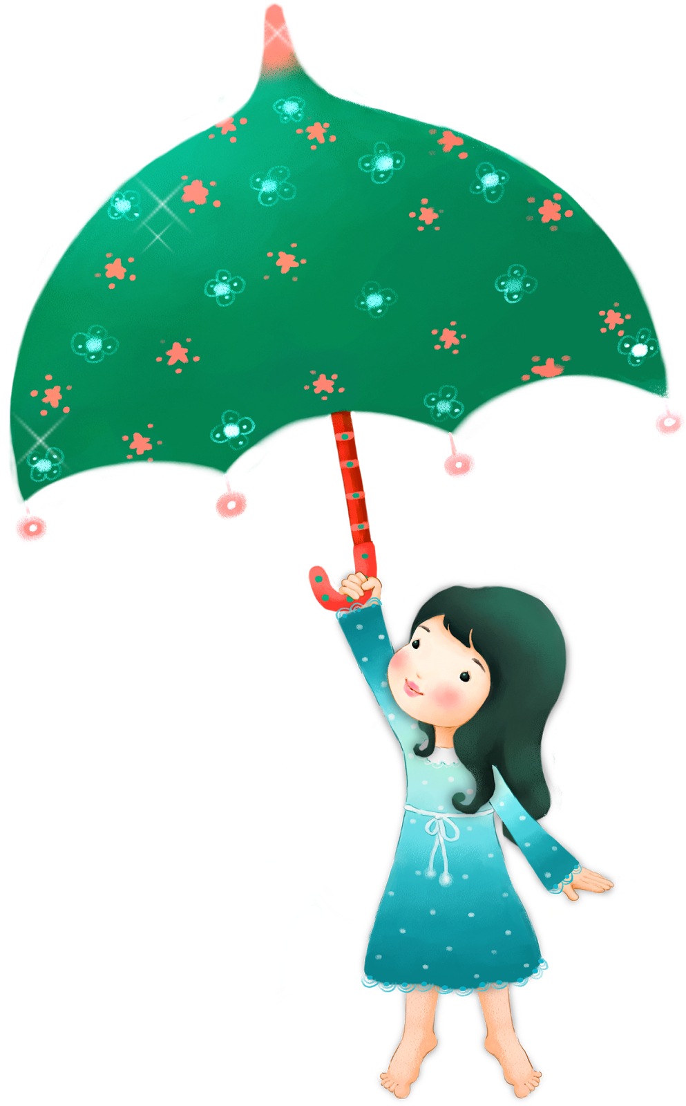 Drawing accessory christmas. Umbrella girl child transprent