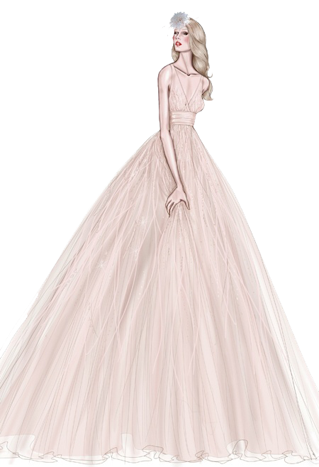 Drawing accessory dress. Wedding gown sketch hand