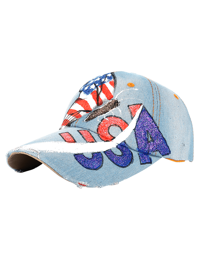 Drawing accessory unique. Hand butterfly usa flag