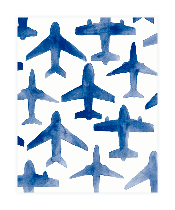 Drawing airplane printable. Watercolor print feelin blue