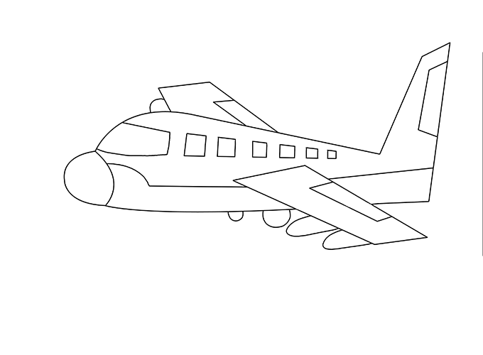 Drawing airplane detailed. Picture skill