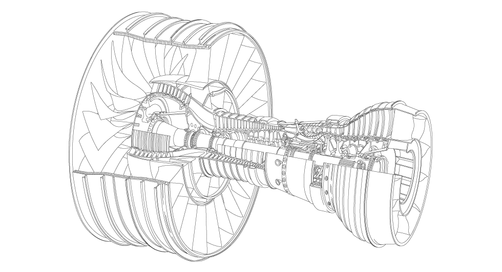 Drawing airplane engine. Gkn engines fan rotatives