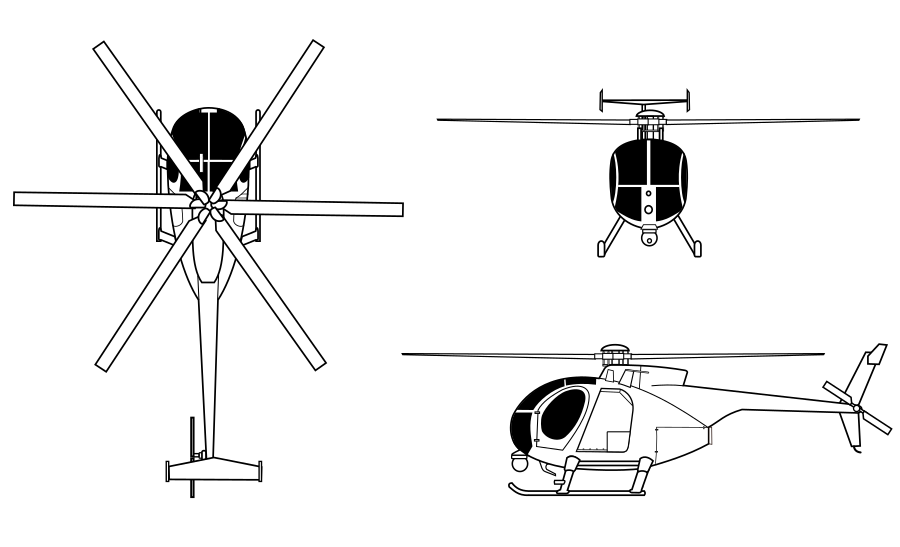 Pilot drawing helicopter. Md helicopters mh little