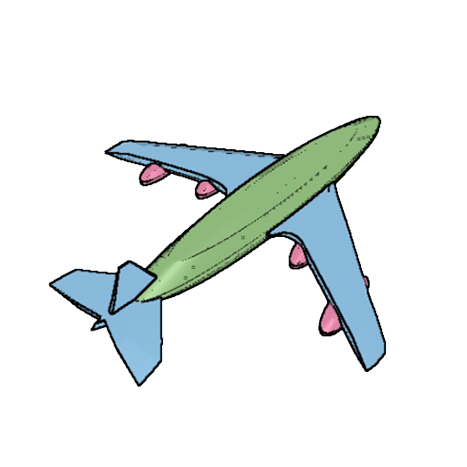 Drawing airplane model plane. D design for