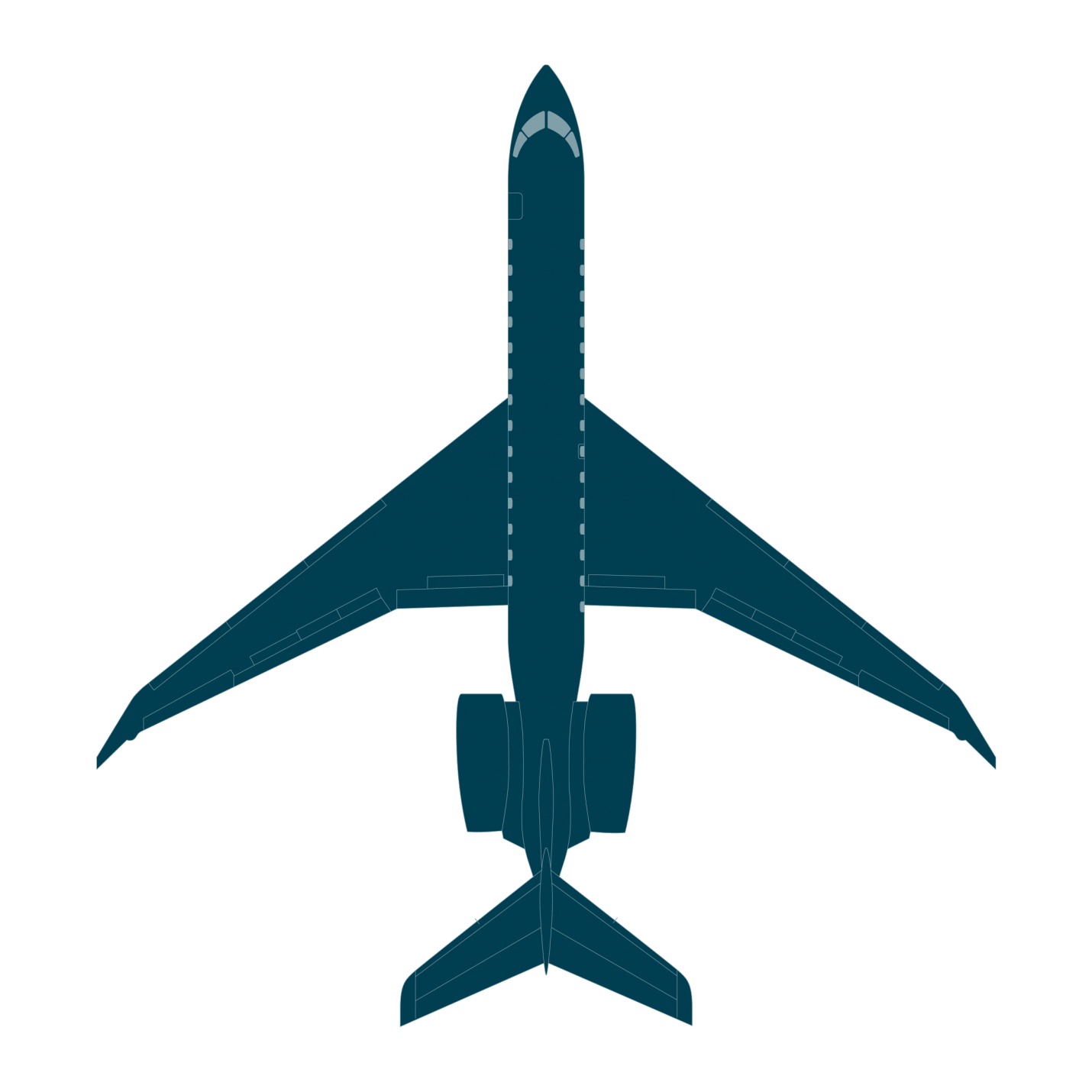 Drawing airplane passenger jet. Global bombardier business aircraft