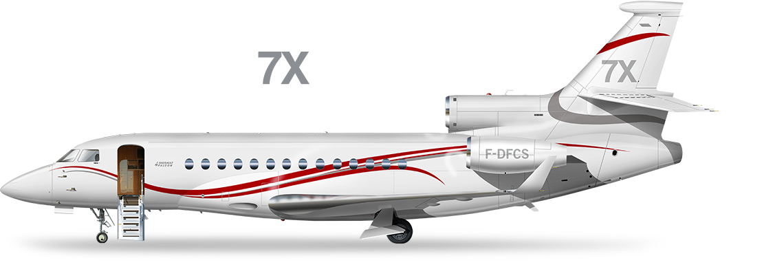 Drawing airplane private jet. Dassault falcon best designed