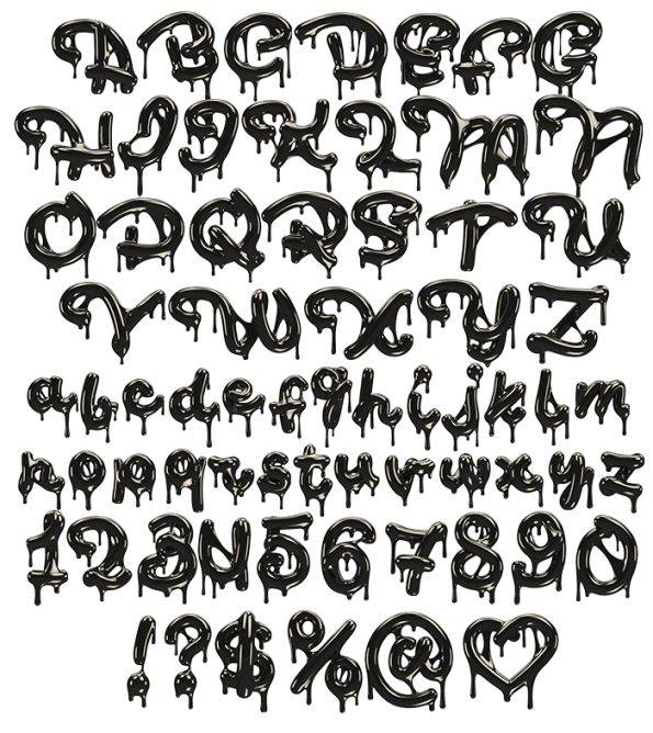 Drawing alphabet font. Buy black oil your