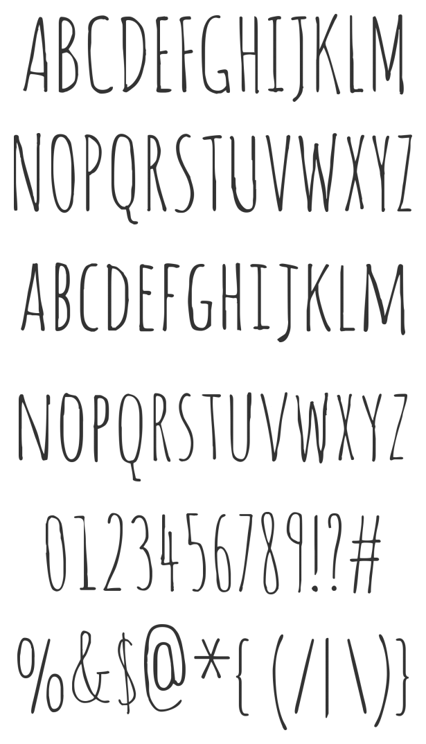 Drawing alphabet love. Amatic this font typography