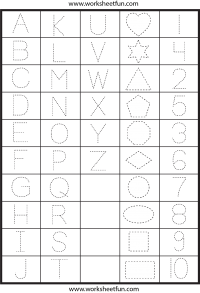Drawing alphabet numerical. Letters numbers and shapes