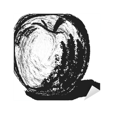 Hand drawn by pencil. Drawing apple charcoal clipart freeuse stock