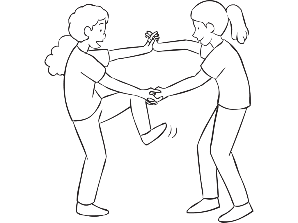 Drawing apple hands holding. Wring out stretch challenging