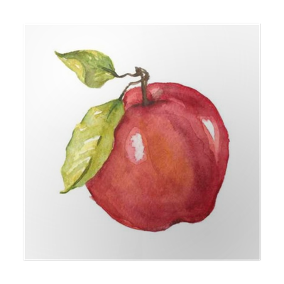 Drawing apple oil pastel. Watercolor hand drawn poster