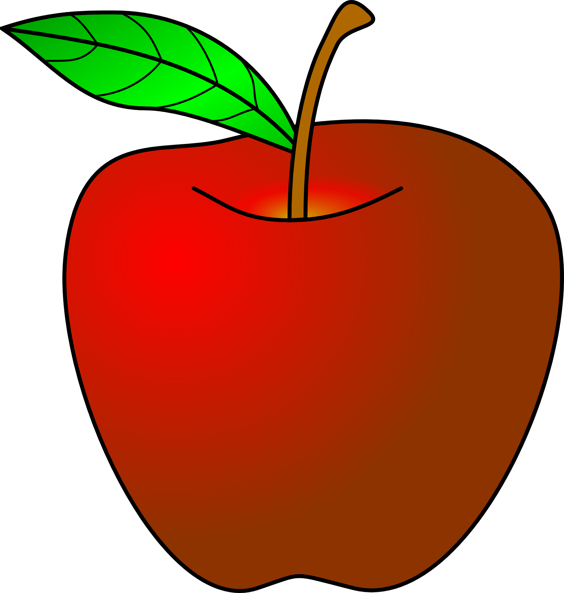 Drawing apple red. Of fruit with ripe