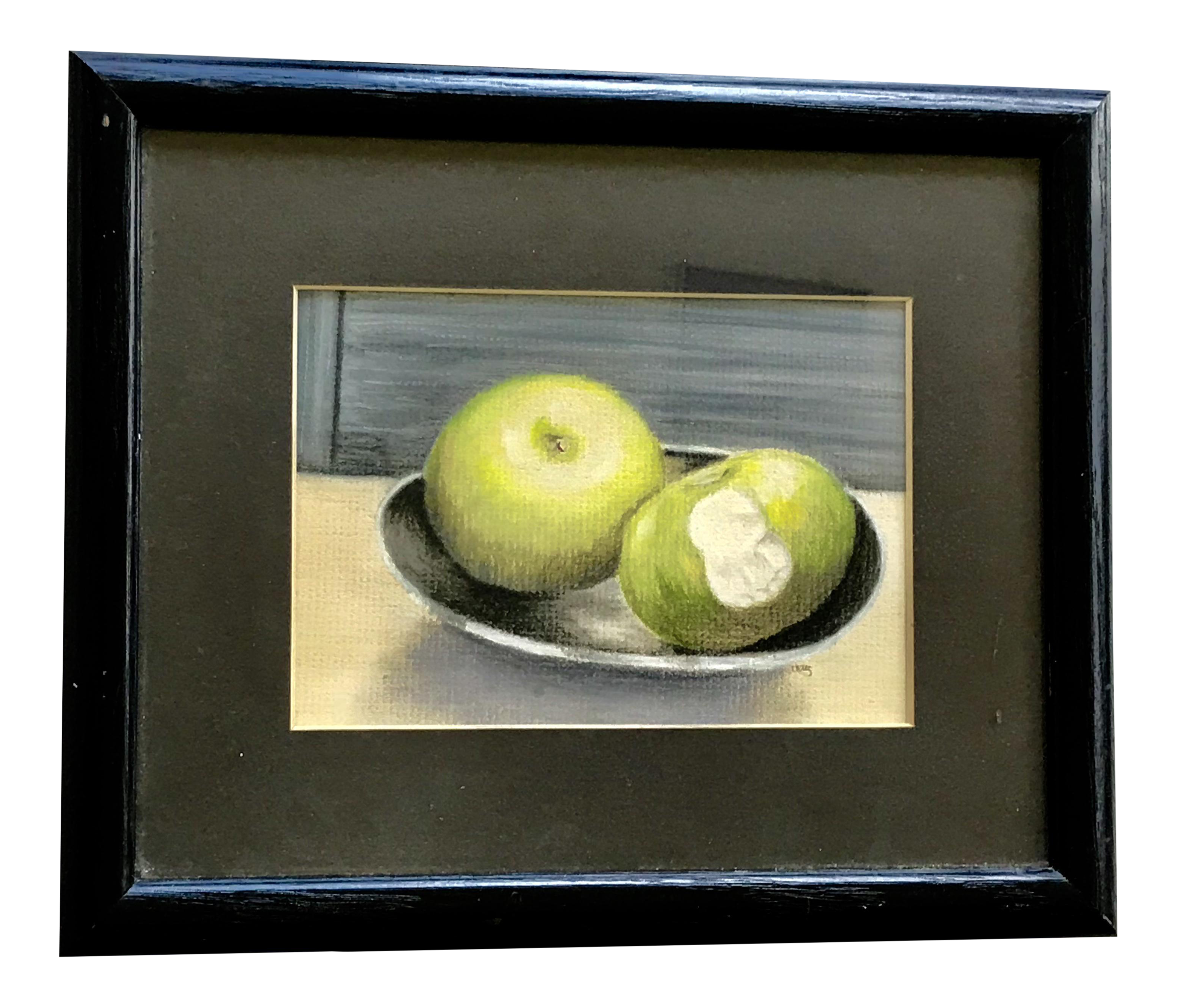 Drawing apple soft pastel. Original painting a study
