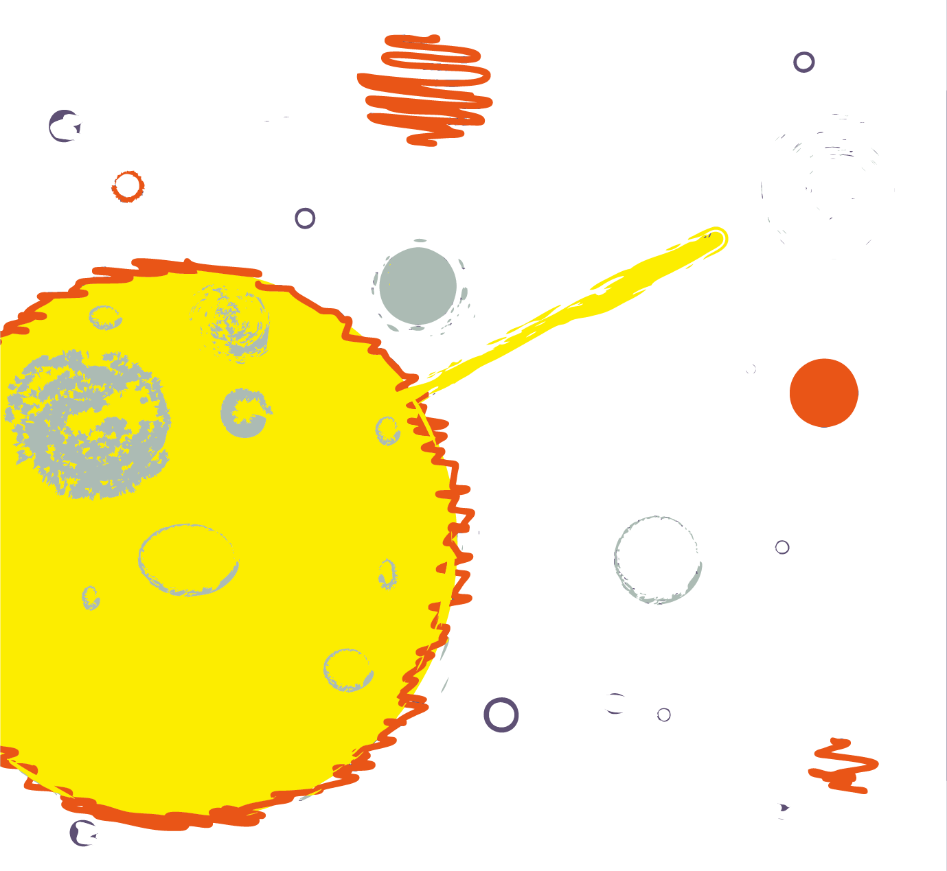 Drawing area galaxy. Cartoon planet transprent png