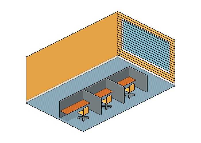 Drawing area space scene. Illustration develop an isometric