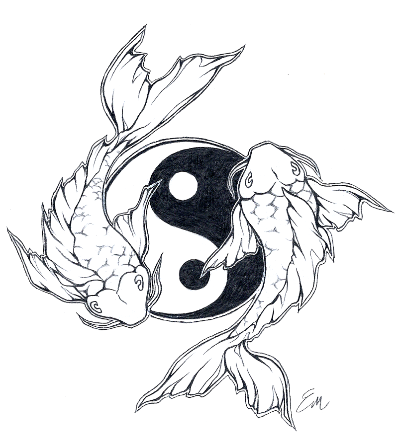 Drawing avatars koi fish. Yinyang tattoo design by