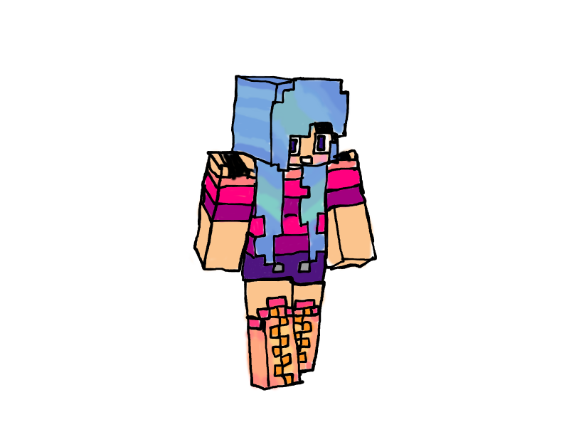 Drawing avatars minecraft girl. Teenage running out of