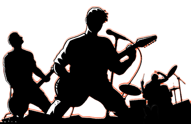 Drawing bands musician. Silhouette rock band at