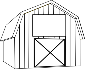 Drawing barns cartoon. Black and white barn