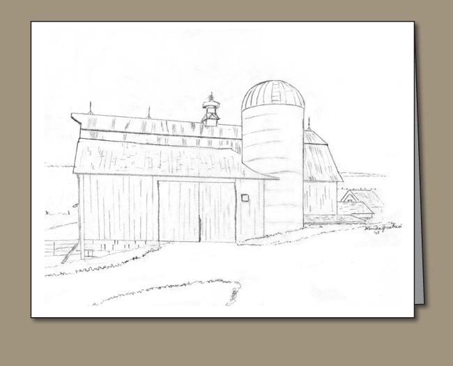 Drawing barns colored pencil. Dairy barn and silo