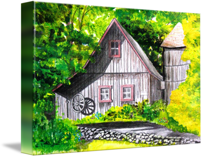 Drawing barns colored pencil. New england barn by