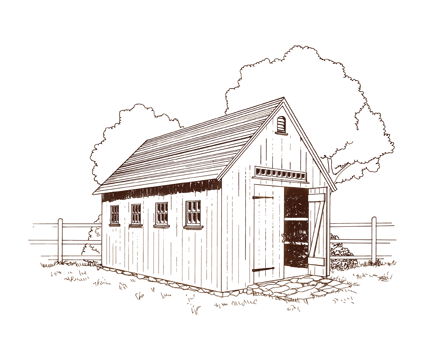Drawing barns country. Small buildings pg carpenters