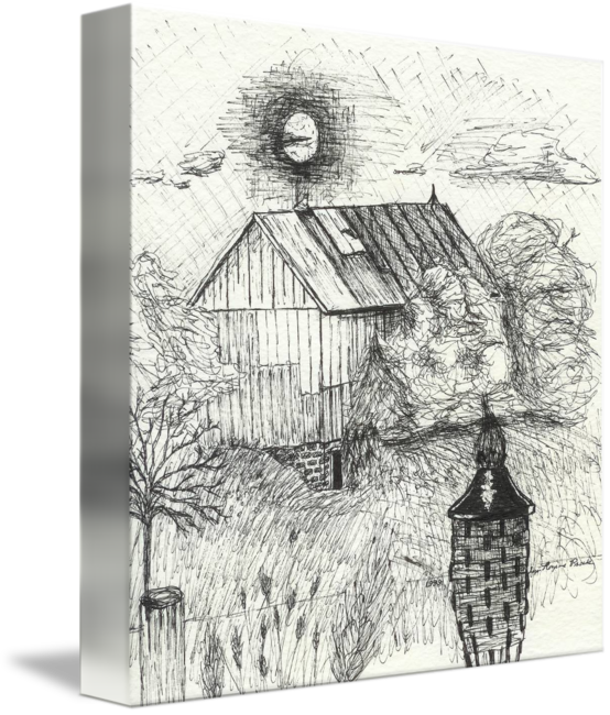 Drawing barns ink. Barn sketch by lynnette