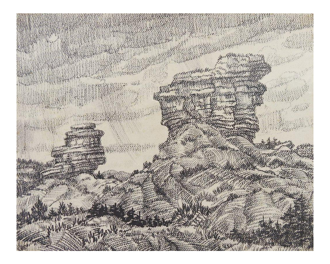 Drawing barns landscape. Desert rock by simon