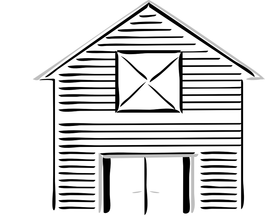 Barn clipart outline. Free vector graphic high