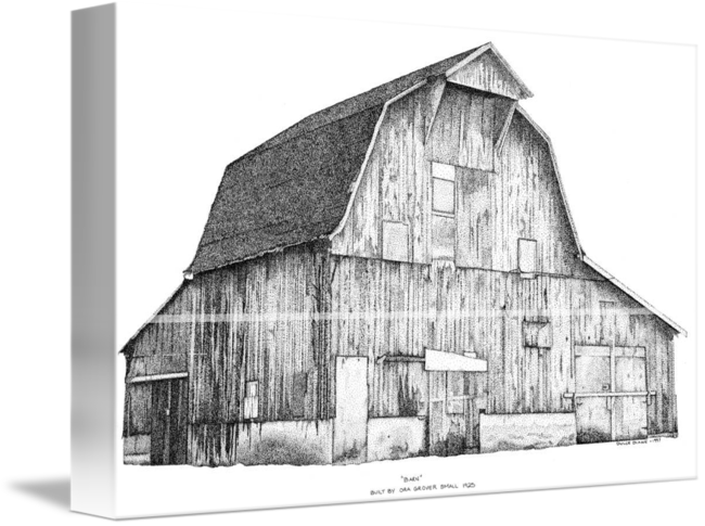 Drawing barns pen ink. And stippled barn by