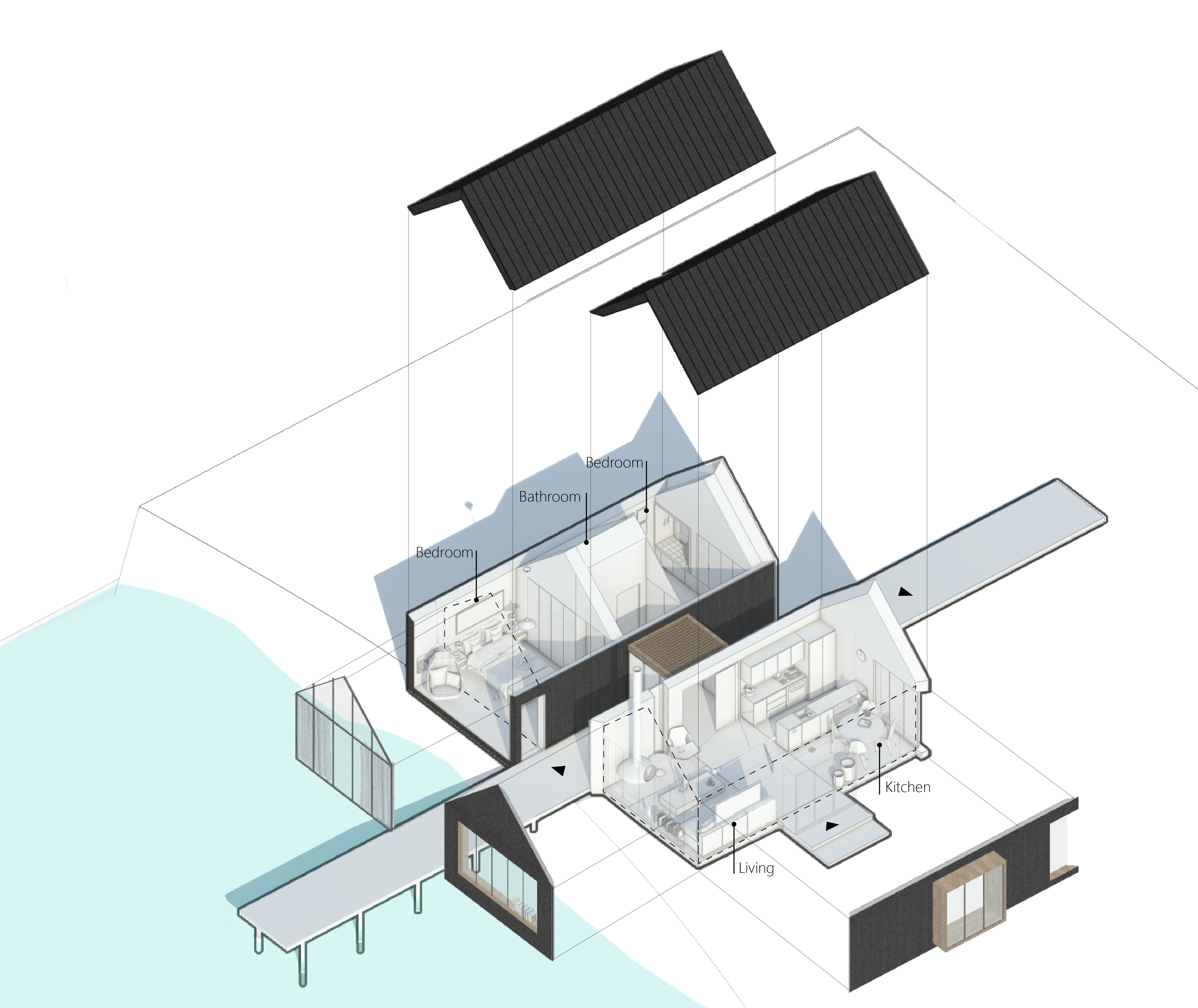 Drawing bedrooms background. Cottage exploded axonometric view