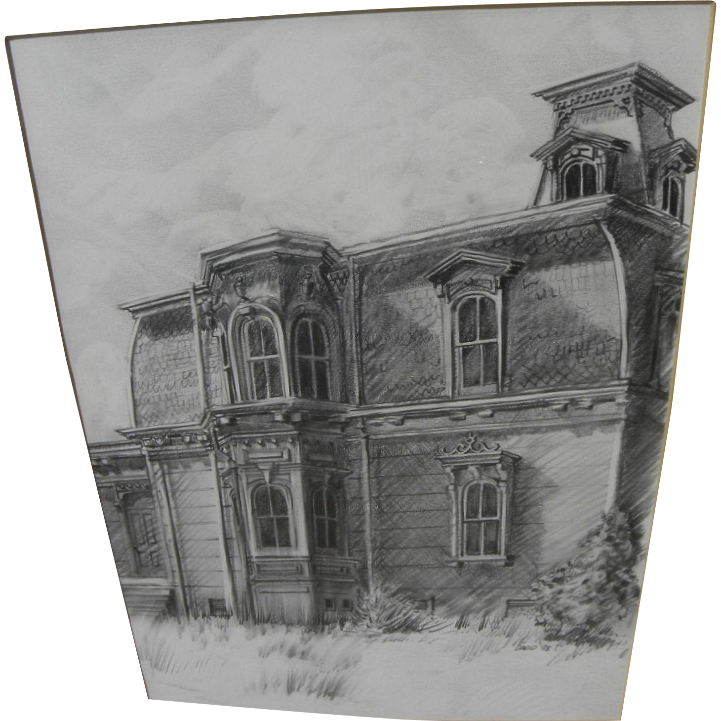 Drawing farmhouse pencil. Fine detailed of a