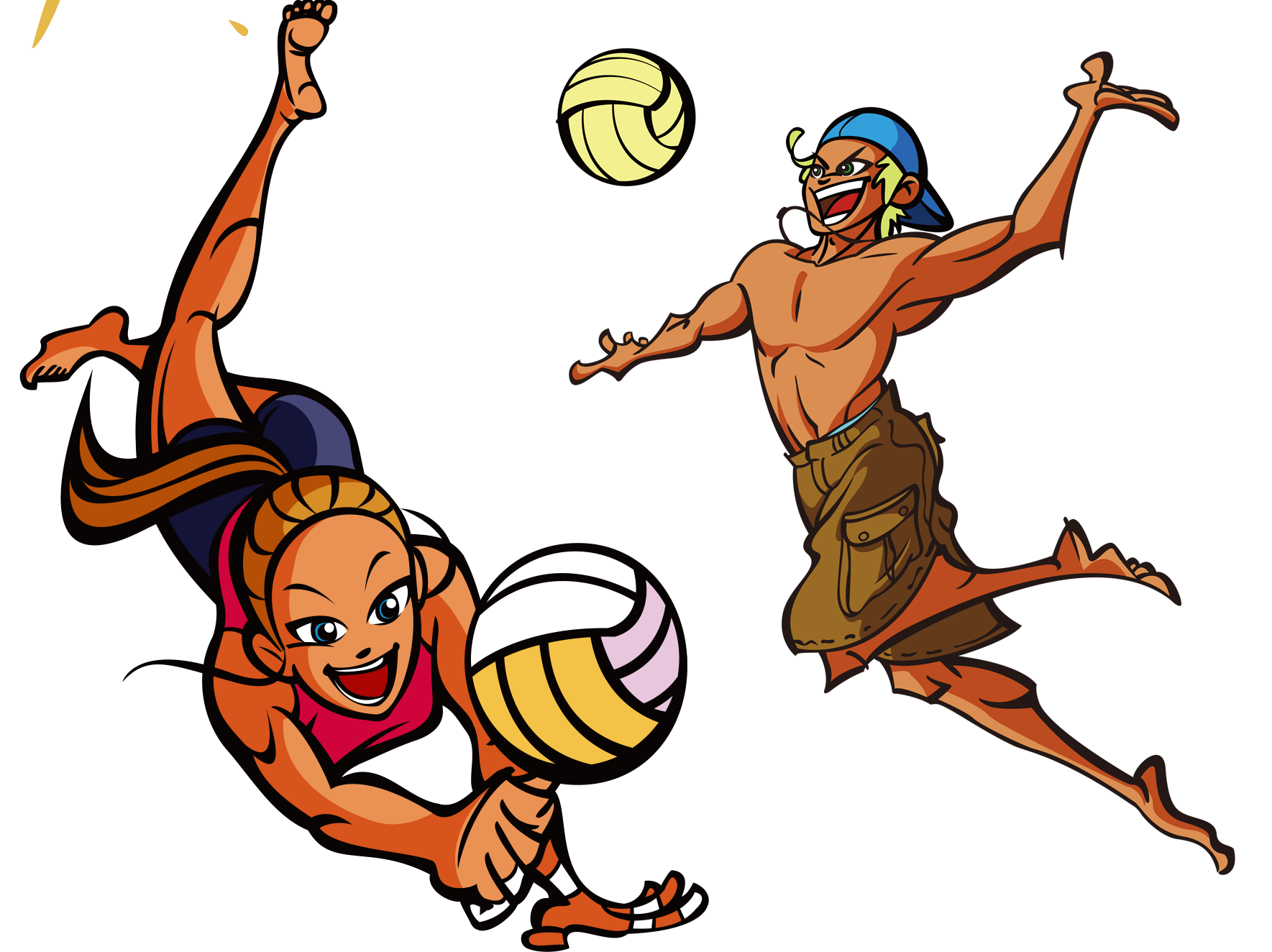 Volleyball cartoon transprent png. Drawing beach image transparent