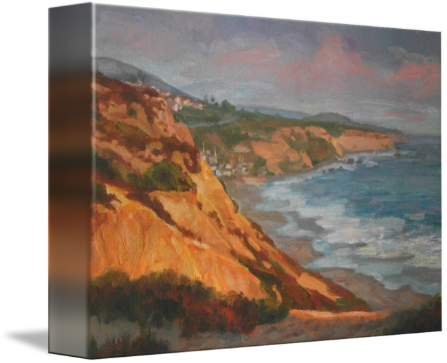 Drawing beach cliffs. Impressionist landscape painting of
