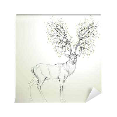 Drawing wall realistic. Deer with antler like