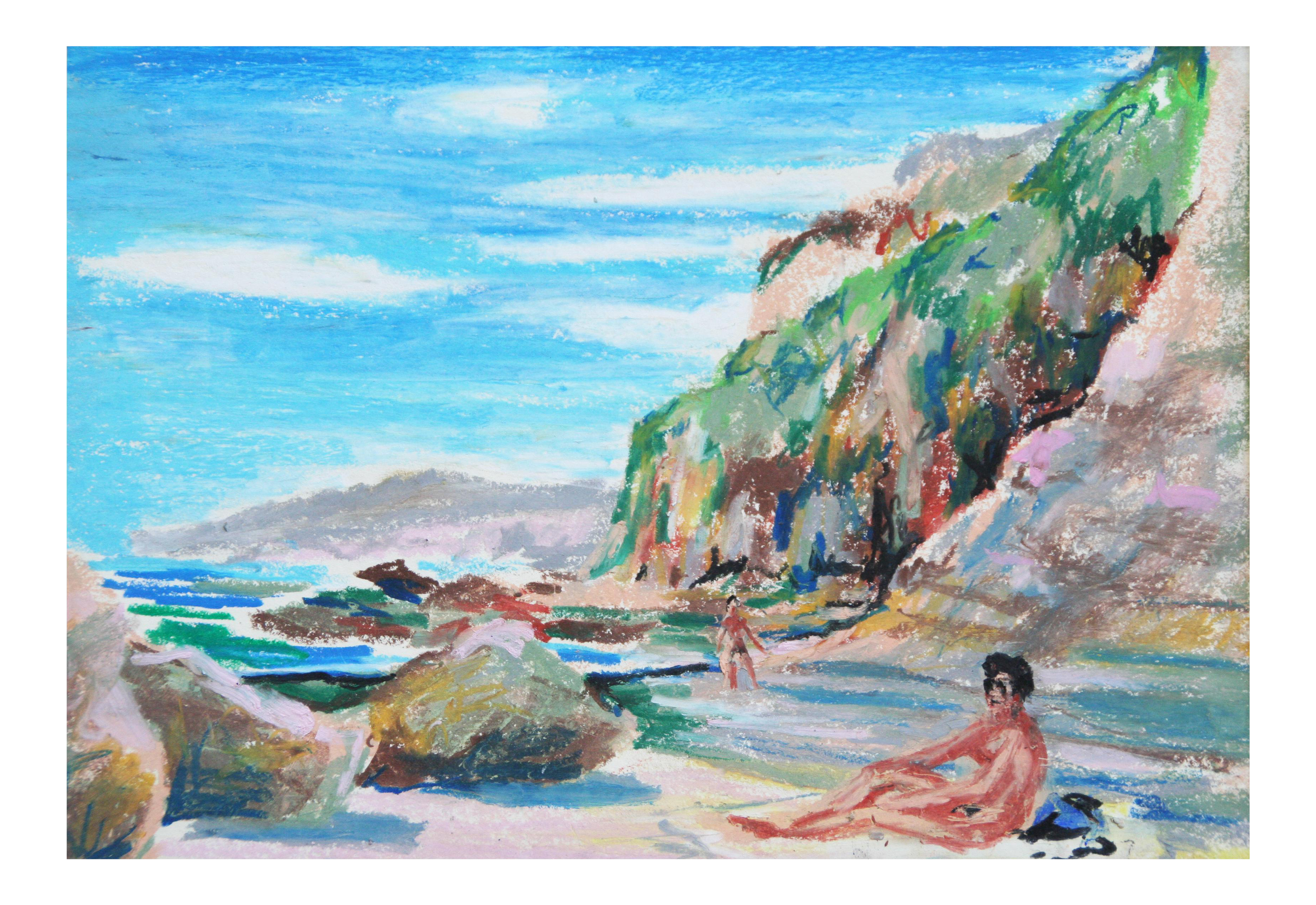 Drawing beach watercolor. Vintage pastel of secluded