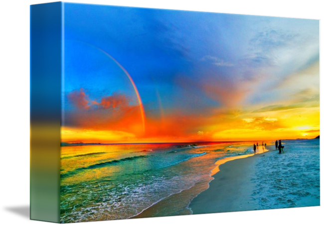 Drawing beach seascape. Rainbow sunset florida orange